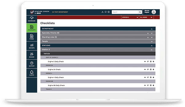 Overview of EMS Checklists Workflow page.
