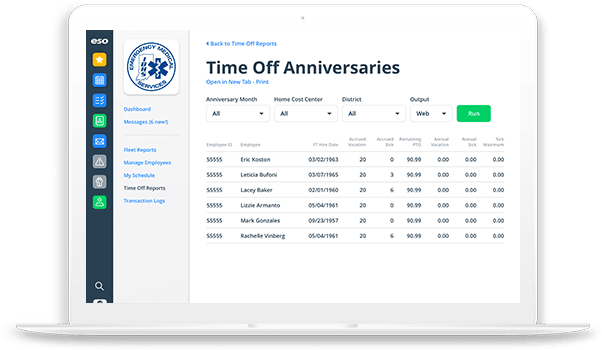 View of Time Off Anniversaries in EMS Scheduling.