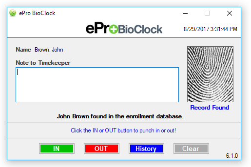 Employee time card view for BioClock.